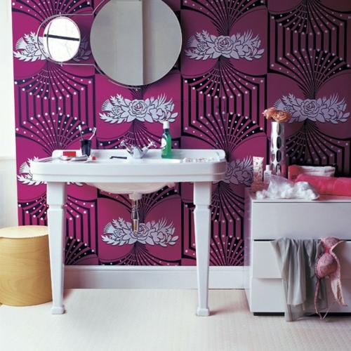 bad interieur pink muster extravaganz
