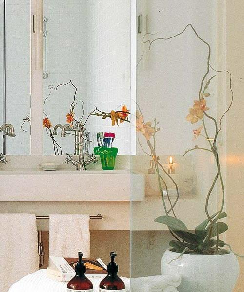 badezimmer dekoration orchideen platte waschbecken vase kosmetik - Gestaltungsideen Durch Orchiden
