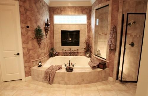 25 badezimmer designs mit einbaukaminen romantische atmosphre - Badezimmer Bilder