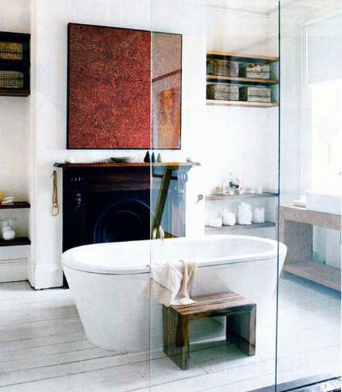 badezimmer designs mit einbaukaminen holz hocker tuch