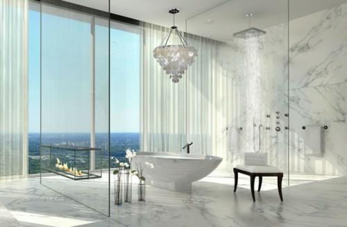 badezimmer designs mit einbaukaminen idee badewanne glaswände