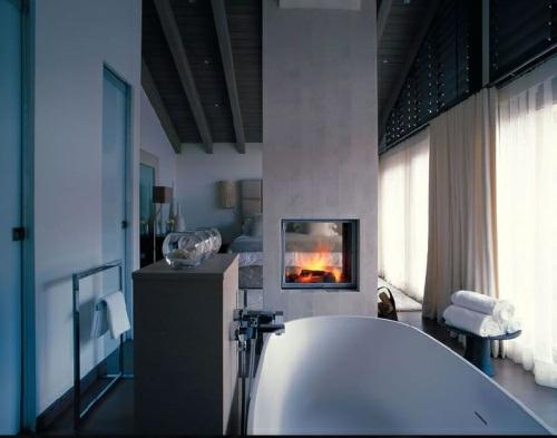 badezimmer designs mit einbaukaminen idee badmöbel
