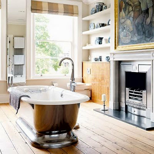 badezimmer designs mit einbaukaminen klassisch