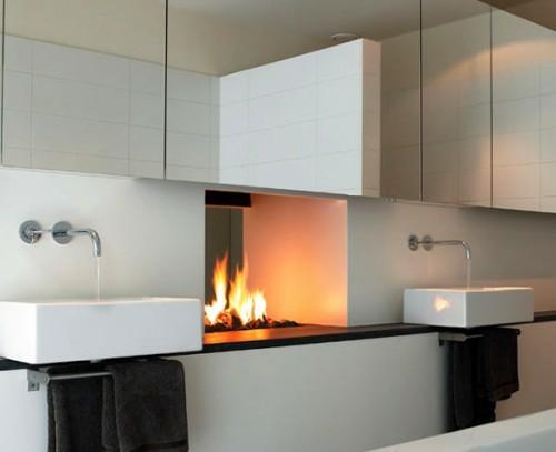 badezimmer designs mit einbaukaminen minimalistisch