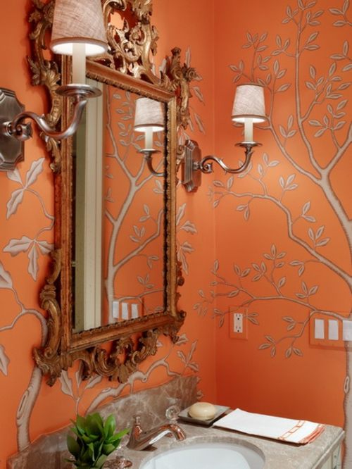 Badezimmer Interieurs extravagant bäume orange wände