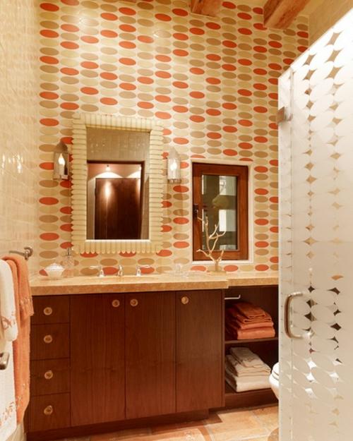 badezimmer interieuers tapeten holz toilettentisch idee