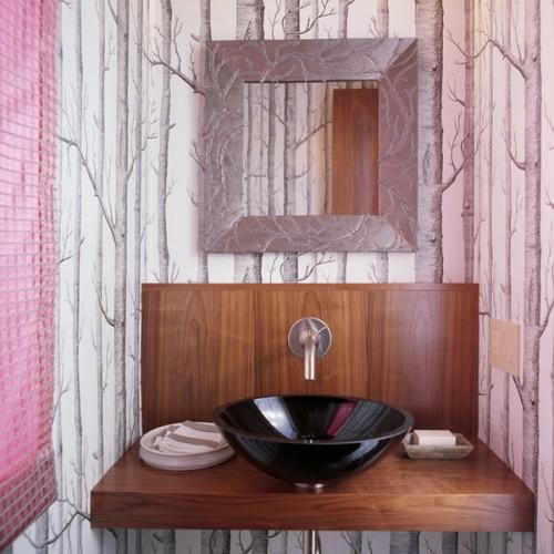 Badezimmer Interieurs tapeten natur elemente schwarz waschbecken