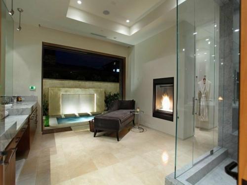 badezimmer kamin design sofa weich samt dunkel