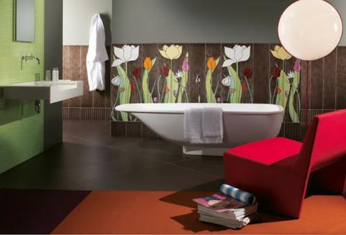 badezimmer wandmuster blumen design idee farben