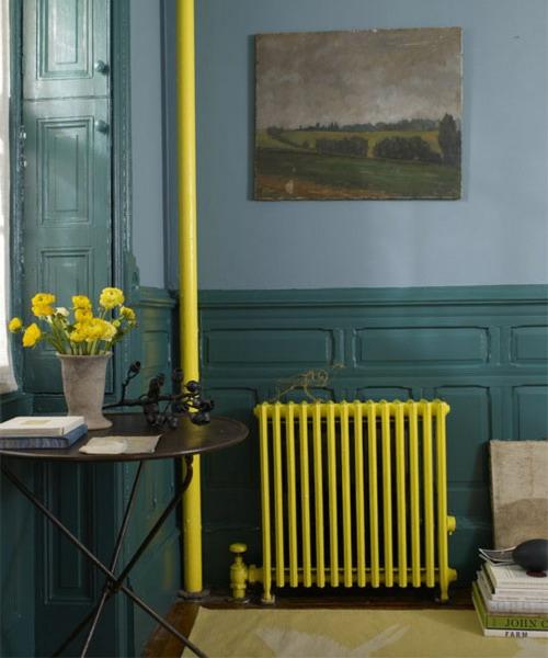 bemalen von alten radiatoren gelb idee  grell wohnzimmer
