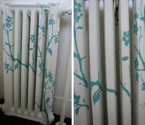 bemalen von alten radiatoren weiß blau floral
