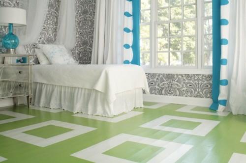 bemalten fußboden weiß grün schlafzimmer