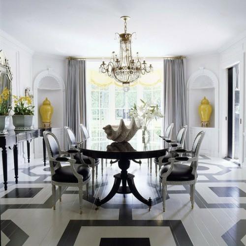 bemalten fußboden weiß schwarz wohnzimmer kronleuchter altmodisch
