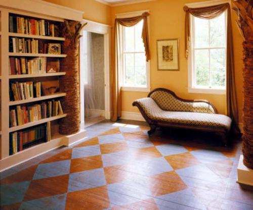 bequem couch wand regale bücher leseecke boden bemalt