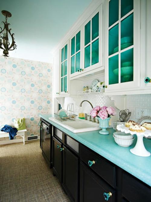 blau glas küchenschränke schwarz weiß kompakt klein küche