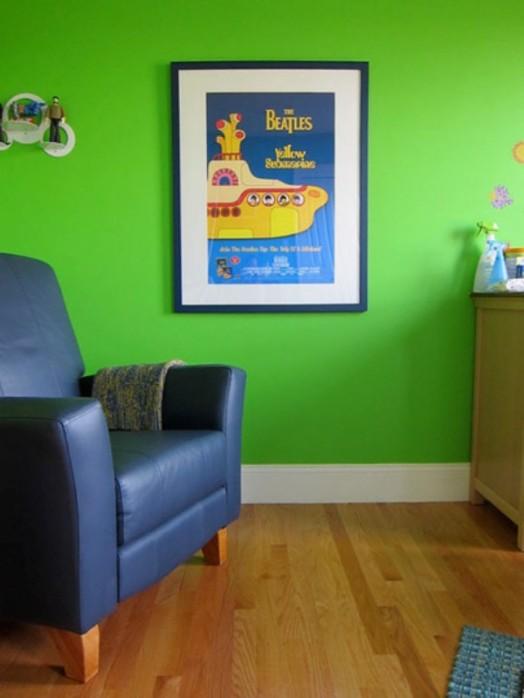 blau ledersessel wand kinderzimmer grüne Kinderzimmer Interieurs