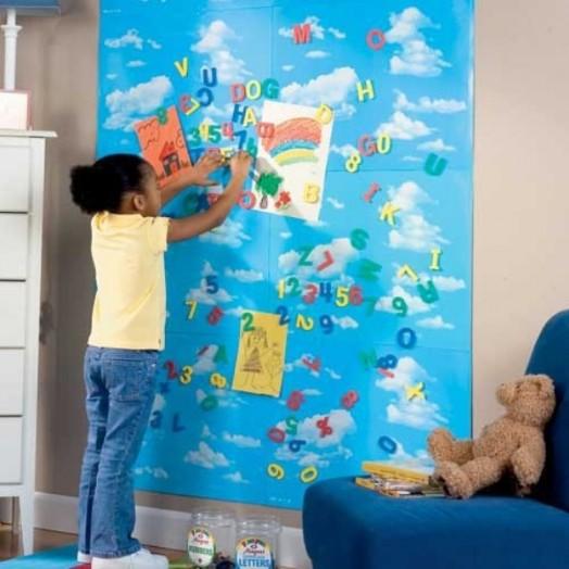 ... und nützliche Ideen für Magnettafel im Kinderzimmer - blaue Farbe