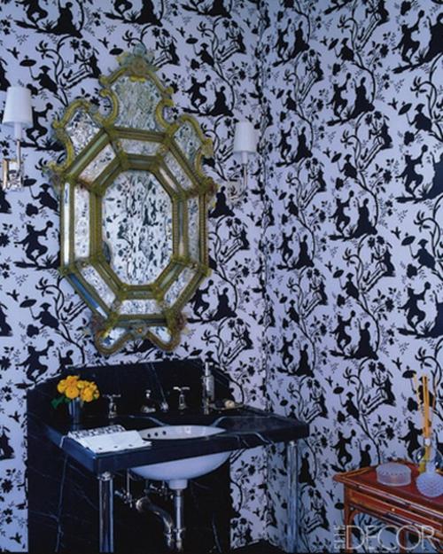 blau schwarz wand tapeten extravagant spiegel waschbecken