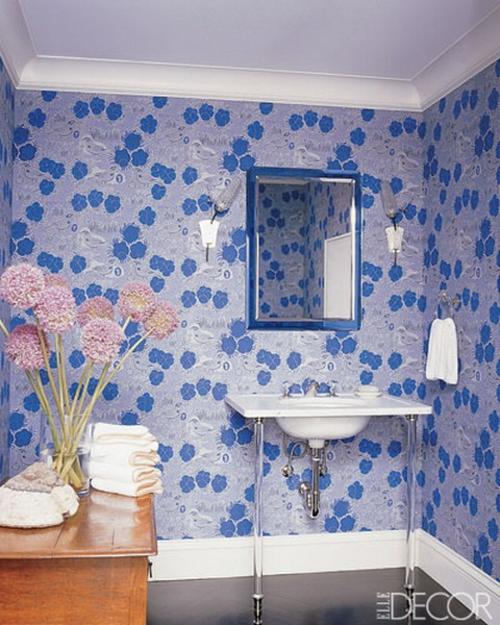 blau wände verzierungen blumen frisch ambiente badezimmer deko