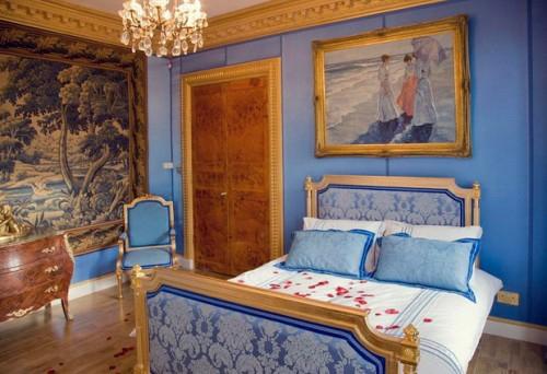 blaue ausstattung holz bodenbelag klassisch englisch schlafzimmer interieur