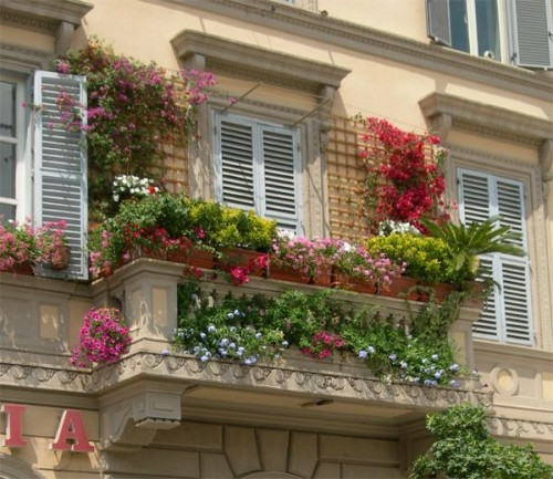blumen gemütlichen balkon idee frisch frühling fensterladen
