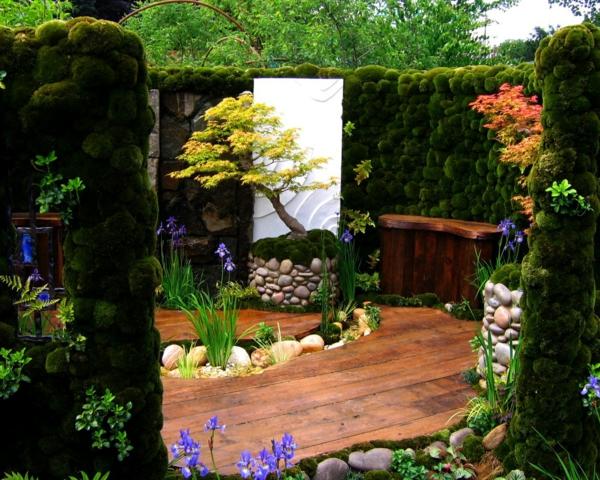bonsai baum feng shui bodenbelag holzbalken natursteine moos gartengestaltung