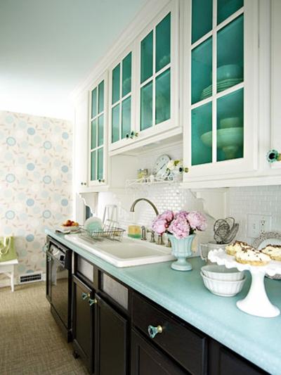 bunt farbenreich schmale Küchen Interieurs kompakt  galley