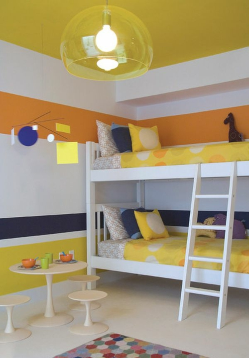 bunt kinderzimmer design idee gelb orange etagenbett