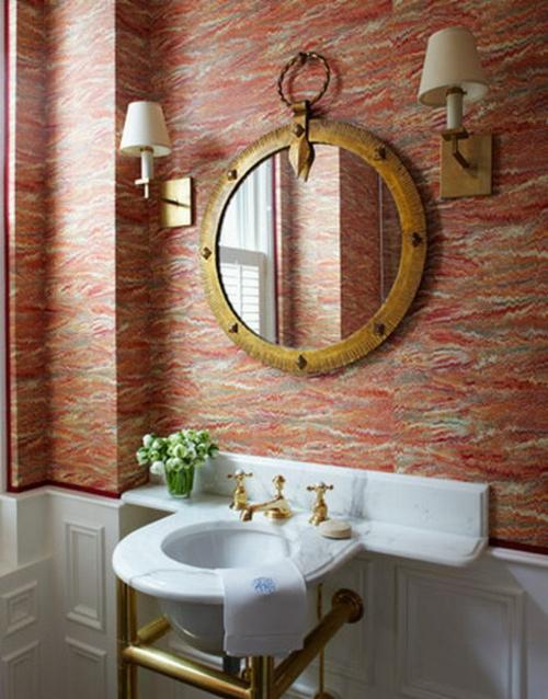 bunt wände tapeten spiegel rund waschbecken klein toll