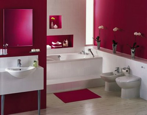 bunte badezimmer designs dunkelrosa weiß
