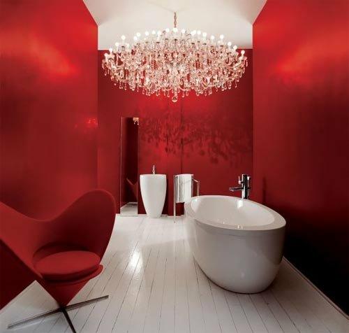 bunte badezimmer designs dunkelrot romantisch klassisch