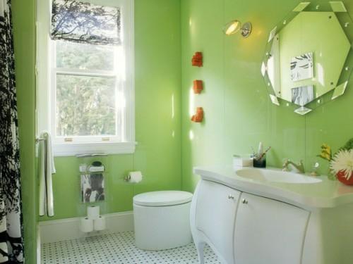 bunte badezimmer designs hellgrün wand