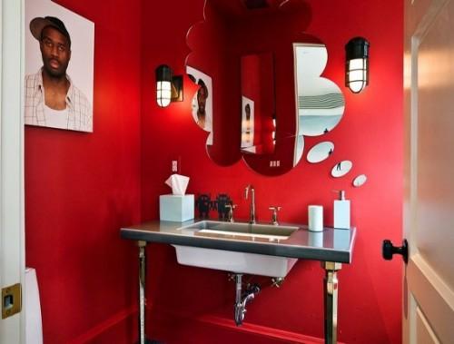 bunte badezimmer designs rot idee