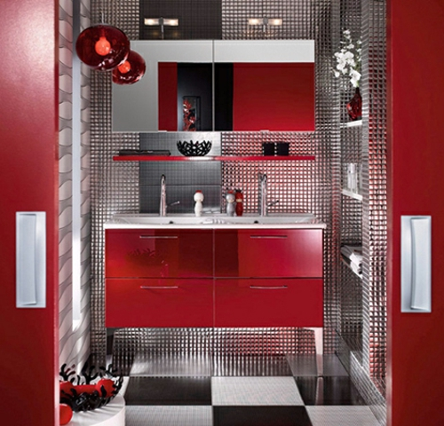 bunte badezimmer designs rot interieur