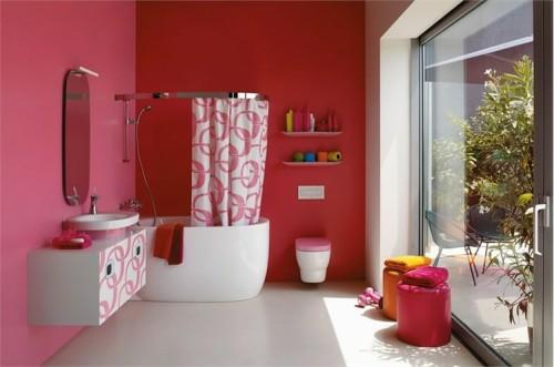 bunte badezimmer designs rot rosa
