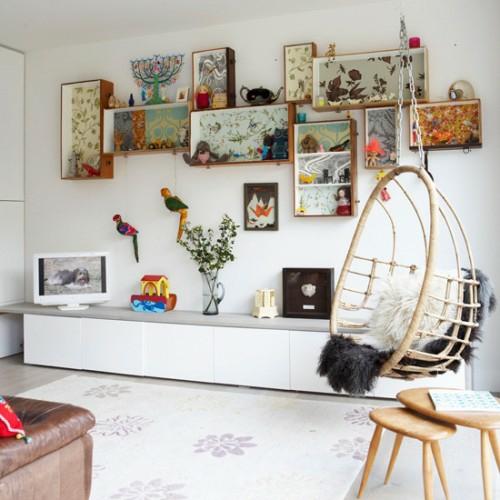bunte lösung idee aufbewahrung organisation wohnzimmer