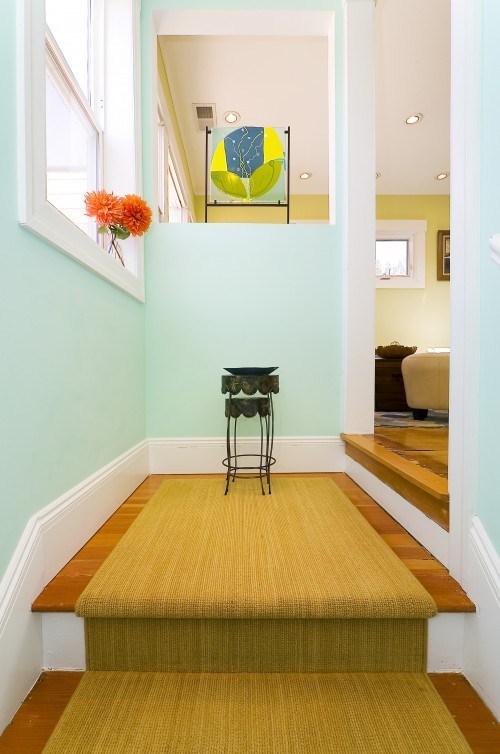 coole gelbe Treppen-Vorleger Dekor