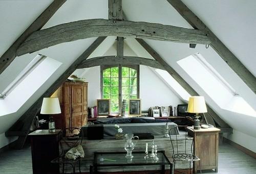dachgeschoss wohnung idee ländlich stil  französisch design
