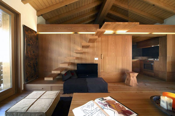 wohnzimmer holz design:Wooden Apartment Interior Design