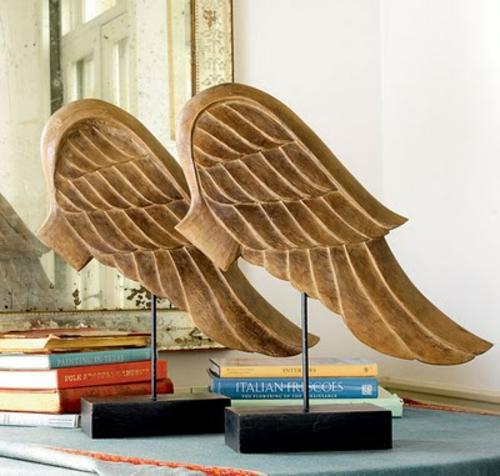dekoideen mit engelsflügeln deko bücher holz