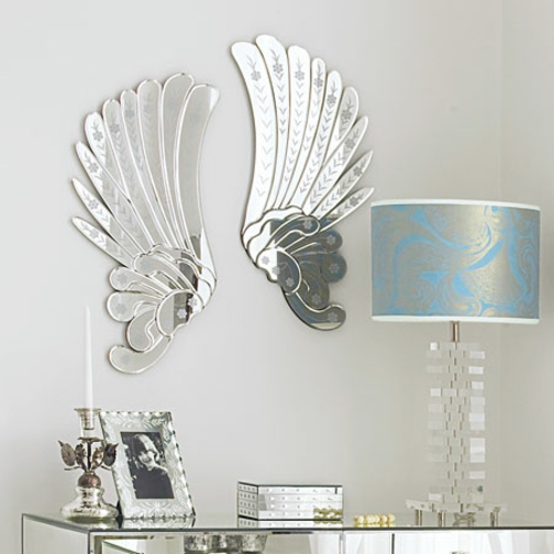dekoideen mit engelsflügeln wand deko spiegel glas bilderrahmen