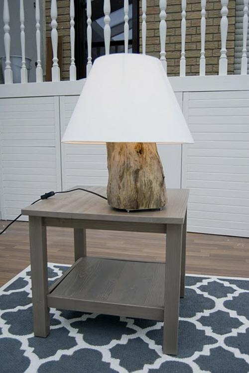 dekoration aus baumstumpf tischlampe originell natur
