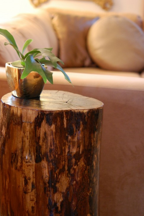 dekorativ beistelltisch aus baumstumpf idee haus design