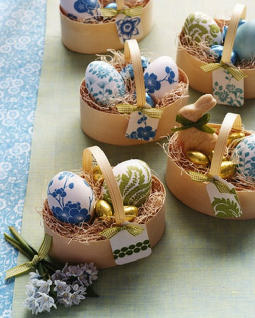 dekorativ korb idee deko ostern eier