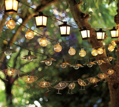 dekorative beleuchtung im garten kette girlande