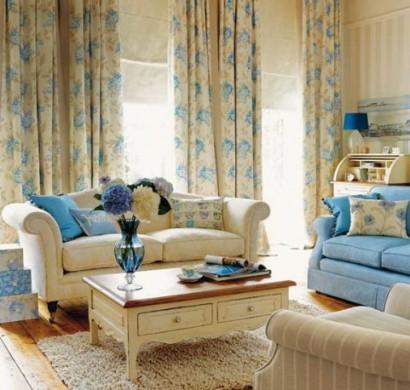 Wohnzimmer Vorhaenge Blau - Wohndesign -