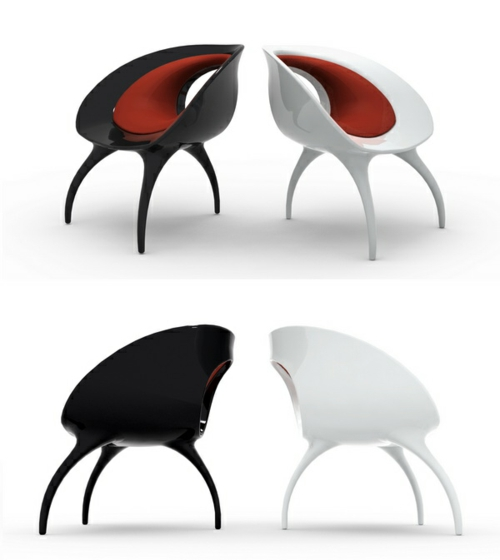 der qi dian stuhl von benoit lienart rot schwarz zwei ausstellung