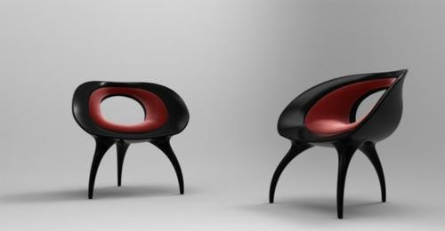 der qi dian stuhl von benoit lienart rot schwarz zwei