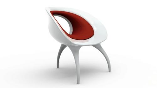 der qi dian stuhl von benoit lienart rot weiß design idee