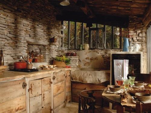design küche idee frankreich steinwand innen